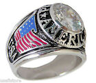 Mens Proud American Flag CZ Rhodium Plated Ring Size 13-14