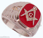 Mens Red Masonic Mason 5th Rhodium Plated Ring