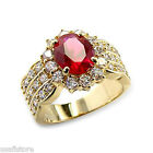 Red Ruby Color Oval Cut 1ct Crystal Womes Ring New