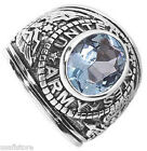 Mens Aqua Blue US Army Military Rhodium Plated Ring size 13