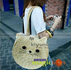Women Fashion Cute Lovely Cat Straw Beach Tote Shoulder Bag SM1 WBG194