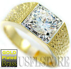 Round Cut Simulated Diamond Tutone Gold EP Mens Ring