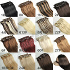 "18""CLIP IN HUMAN HAIR EXTENSIONS BLACK BROWN BLONDE RED"