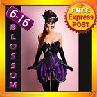 CC1 Ladies Purple BURLESQUE COSTUME Corset Dress Up MOULIN ROUGE Outfit