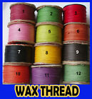 Mix Colour Cotton Wax Thread Cord String Beading Jewellery Waxed Thread 10-50mtr