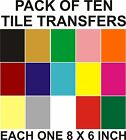 "6"" x 8"" Tile transfer /stickers packs 10, 20, 30, 40, 50, Many colours"