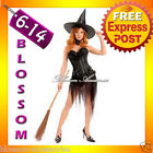 B1 Ladies Black Halloween Witch Corset Fancy Dress Up Costume Outfit + Hat