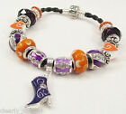 #5965 -- PURPLE BOOT ORANGE & CRYSTAL EUROPEAN 925 GLASS BEAD BLACK BRACELET
