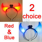 Halloween Head Wearing Ox Horn Demon Red/Blue Light
