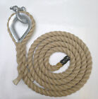 POLY HEMP GYM ROPES, CLIMBING ROPES WITH STEEL THIMBLE & SHACKLE SPLICED ONE END