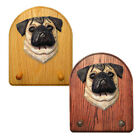 Pug Wood Carved Dog Figure Key Leash Holder. Home Decor Dog Products