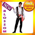 C348 Mens Adult Captain One Eyed Willy Pirate  Halloween Fancy Dress Costume
