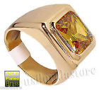 Mens Yellow Champagne CZ  Solitaire Gold Plated Ring