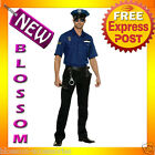 C435 Mens Cops Police Officer Uniform Halloween Fancy Dress Up Costume + Hat