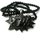 "POW New Black Plastic Good Wood Style Pendant & 36"" Bead Necklace Chain Piece!!"