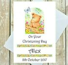 PERSONALISED CHRISTENING DAY NAMING DAY DEDICATION BAPTISM KNEELING TEDDY CARD