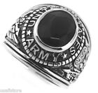 Mens Black Stone US Army Military Rhodium Plated Ring