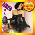 CC9 Black Swan Satin Burlesque Corset Moulin Rouge Costume Petticoat Tutu Skirt