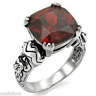 Red Garnet CZ Stone Silver Stainless Steel Celtic Style Ladies Ring New