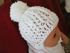 HANDCROCHETED BABY BOBBLE HAT WITH TIES .NEW/EARLY...0/3--3/6--6/9--9-12 MONTHS