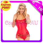 Burlesque Boned Moulin Rouge Corset Dress Up Costume Showgirl Bustier