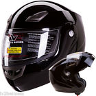 GLOSS BLACK MODULAR FLIP UP MOTORCYCLE HELMET DOT Size: S, M, L, XL