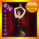 CC14 Burlesque Showgirl Vegas Boned Padded Corset Skirt Moulin Rouge Costume