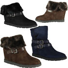 NEW WOMENS LADIES FAUX SUEDE PATENT HIGH KITTEN HEEL COURT WORK CASUAL SHOES 3-8
