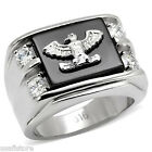 Eagle On Jet Black Agate & Four CZ Silver Stainless Steel Mens Ring