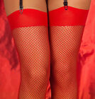 RED PLAIN TOP FISHNET STOCKINGS, SIZES: S-L