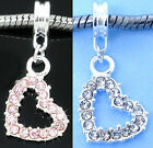 Rhinestone Heart Dangle Charm for Charm Bracelets - Pink or Clear