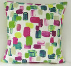 SINGLE CUSHION COVERS EMERALD GREEN PLUM WHITE RETRO SAME FABRIC  PLAIN BACK