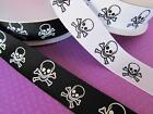 "25 yard Spool Gothic Skull Halloween Grosgrain 7/8"" Ribbon/Craft R65-78-Roll"