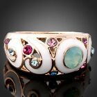 Swarovski Crystal Opal Enamel Rose Gold GP Fashion Ring
