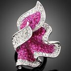 Full Fuchsia Pink Swarovski Crystal White Gold GP Ring