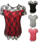LADIES PLUS SIZE FLORAL LACE TOPS WOMENS GOING OUT LINED LACE TUNIC TOPS 14-28