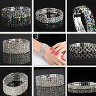 Fashion Multi Row Rhinestone Wedding Party Stretch Bangle Bracelet Bling Jewelry