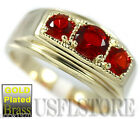 3 Ruby Red Color Stone Gold Plated Mens Ring