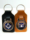 MASONIC OR G OR APRON LEATHER KEYRING MASONS REGALIA BADGED GIFT SEE OPTIONS