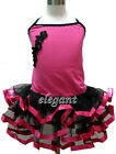 Hot Pink Flower Girl Fairy Costume Dress Ballet Leotard Tutu Party Skirt Age 1-9