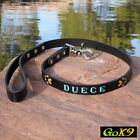 "Black/Espresso Leather 3/4"" x 4' Dog Lead Custom Personalized Pet Name on Leash."