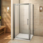 Pivot Hinge Shower Enclosure 6mm Glass Screen Cubicle Door+Side Panel+Stone Tray