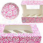 Culpitt Pink Swirly Rose Cupcake CASES or BOXES & inserts Baking/Muffin/Bun/Cake