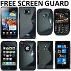 BLACK WAVE S LINE GEL SILICONE COVER CASE FOR MOBILE PHONE FREE SCREEN PROTECTOR