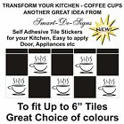 "10 x Tile transfers stickers coffee cappachino cups tea cups kitchen 6"" Tiles"