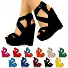 NEW WOMENS LADIES FAUX SUEDE PLATFORM HIGH STRAPPY WEDGE SHOES SIZE 3 4 5 6 7 8