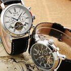 Mens Leather Mechanical Classic dial Mens Sport Wrist Watch Gift