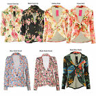 Sofia New Womens One Button Front Floral Print Ponte Ladies Blazer Jacket Coat