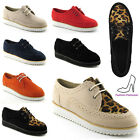 LADIES LACE UP FAUX SUEDE PLATFORM WOMENS FLAT GOTH PUNK WEDGE CREEPERS SHOES