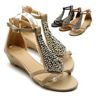 NEW Womens Shoes Gladiator Flats Silver Beads Accent Wedge Multi Colored Sandal